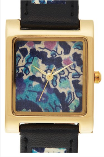 pretty floral print leather watch