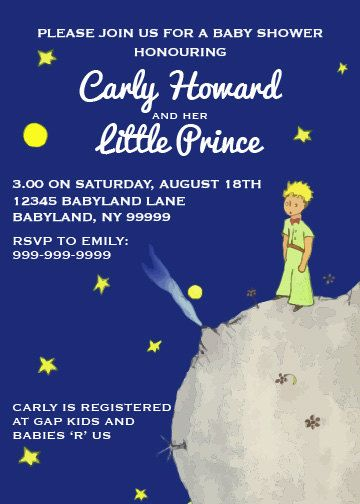 The Little Prince Baby Shower Invitation 5 X 7 By Littleforests