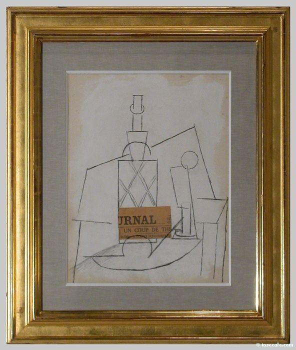 1912 Bouteille, verre et journal sur une table Picasso Pinterest