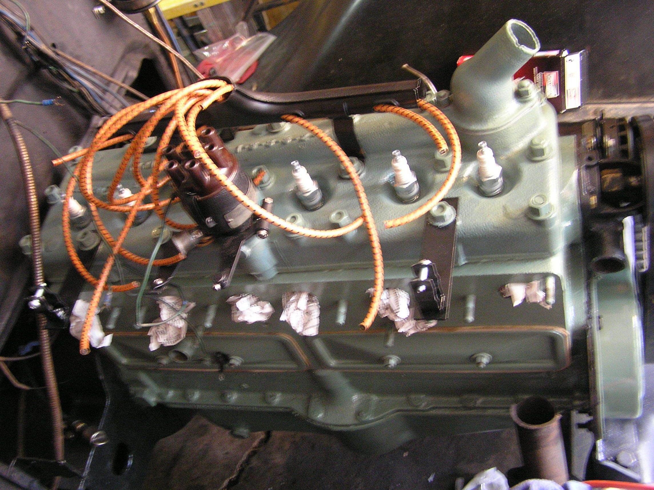 Restored 1929 Dodge Brothers DA 6 engine  Wadded paper is