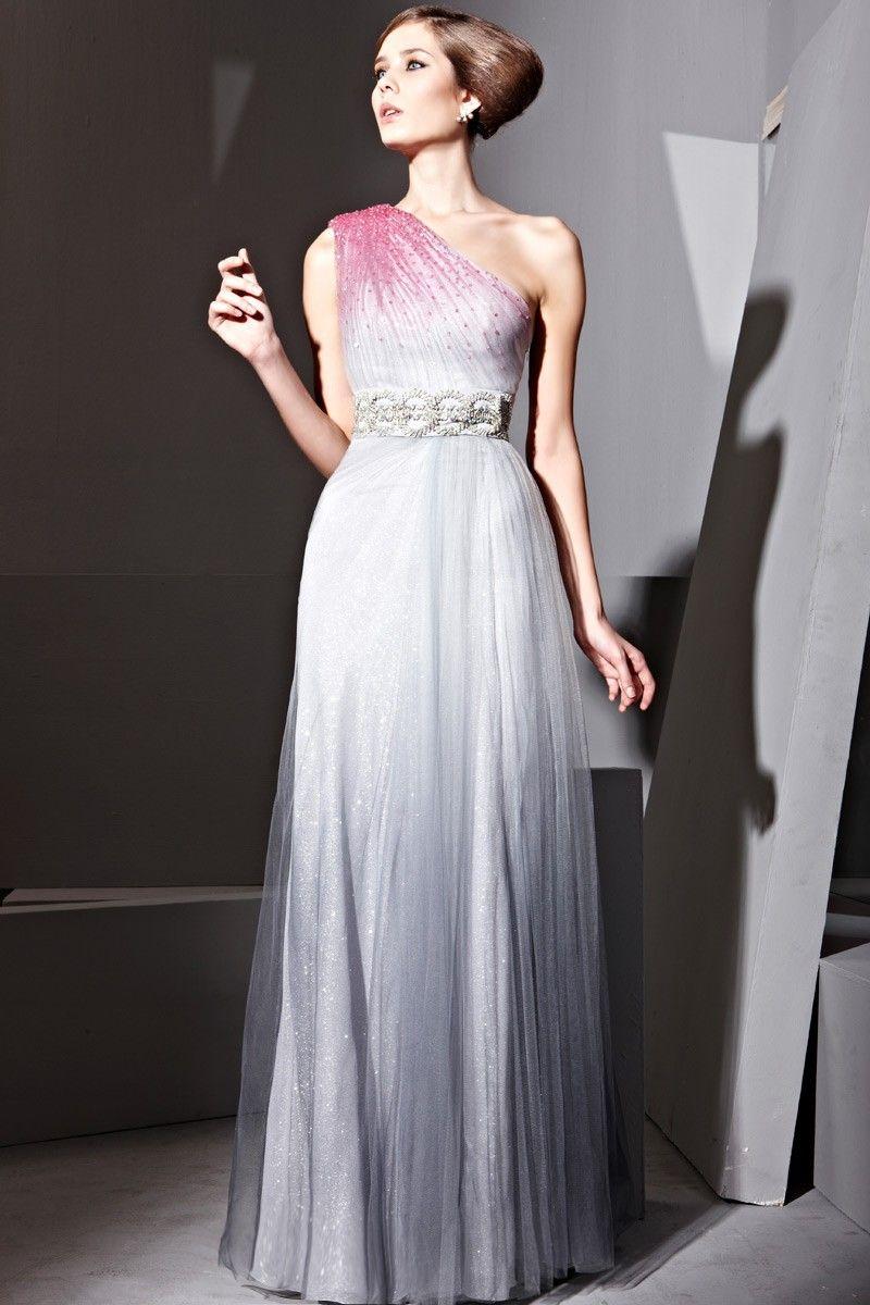 Grey Gradual Net Beads Empire Ball Dress