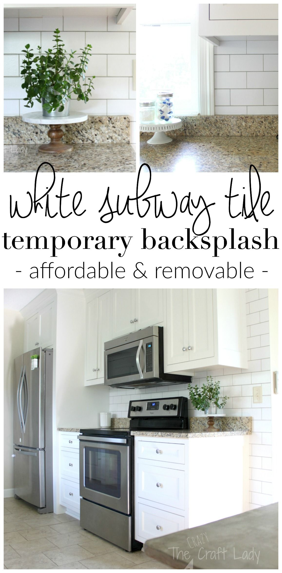 White subway tile temporary backsplash the full tutorial white make a white subway tile temporary backsplash with removable wallpaper follow this tutorial for a dailygadgetfo Images