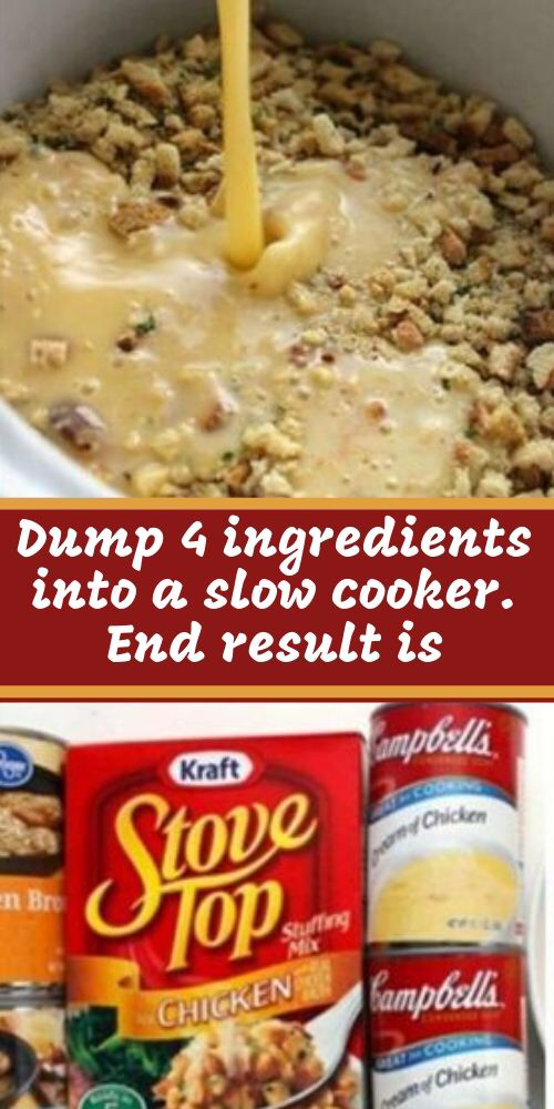 Dump 4 ingredients into a slow cooker End result is a hearty tasty chicken and stuffing