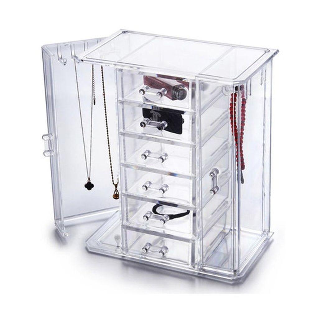 Clear Display Tiered Acrylic Jewelry 6 Drawer Organizer Storage