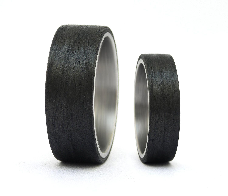 Carbon Fiber & Titanium Wedding Rings by Rosler on Etsy