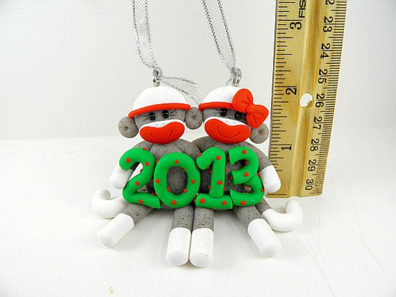 Sock Monkey Couple Christmas Ornament Polymer Clay #sockmoneky
