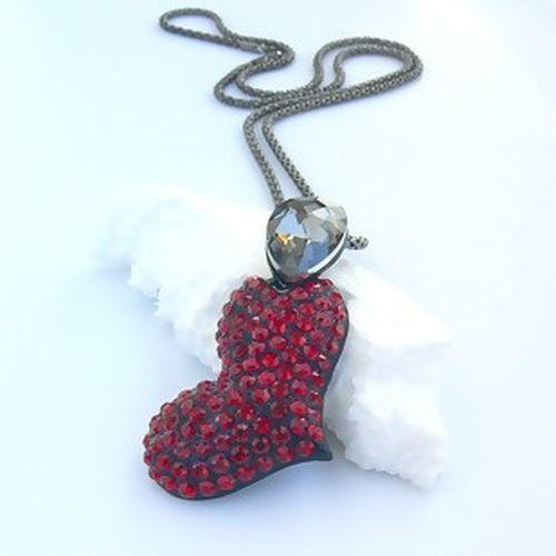 Rød hjerte halskæde