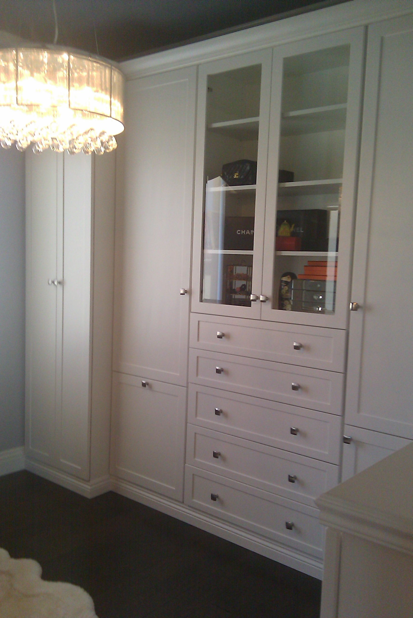 Custom Closet I Designed With Shaker Doors And Drawer Faces And Beveled  Glass Doors