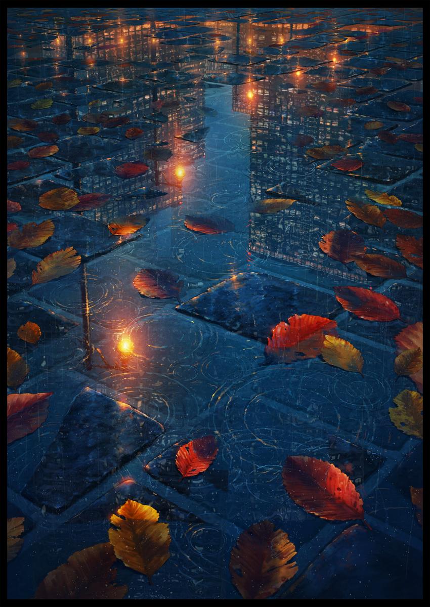 original scenery reflection pool 雨と落葉 pixiv アニメの壁紙 アニメの風景 イラスト
