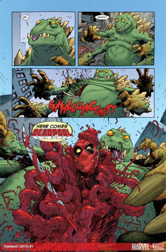 Deadpool (2012) #1 preview art by Tony Moore From: Deadpool (2012) #1 ON SALE: November 7th, 2012 Artist: TONY MOORE http://marvel.com/news/story/19572/sneak_peek_deadpool_1