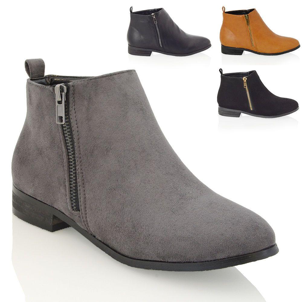 Womens Flat Block Heel Gold Zip Ankle Chelsea Boots