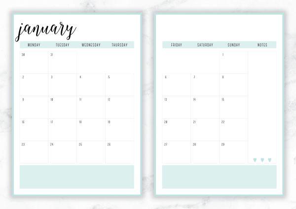 Free Printable Irma  Monthly Calendars