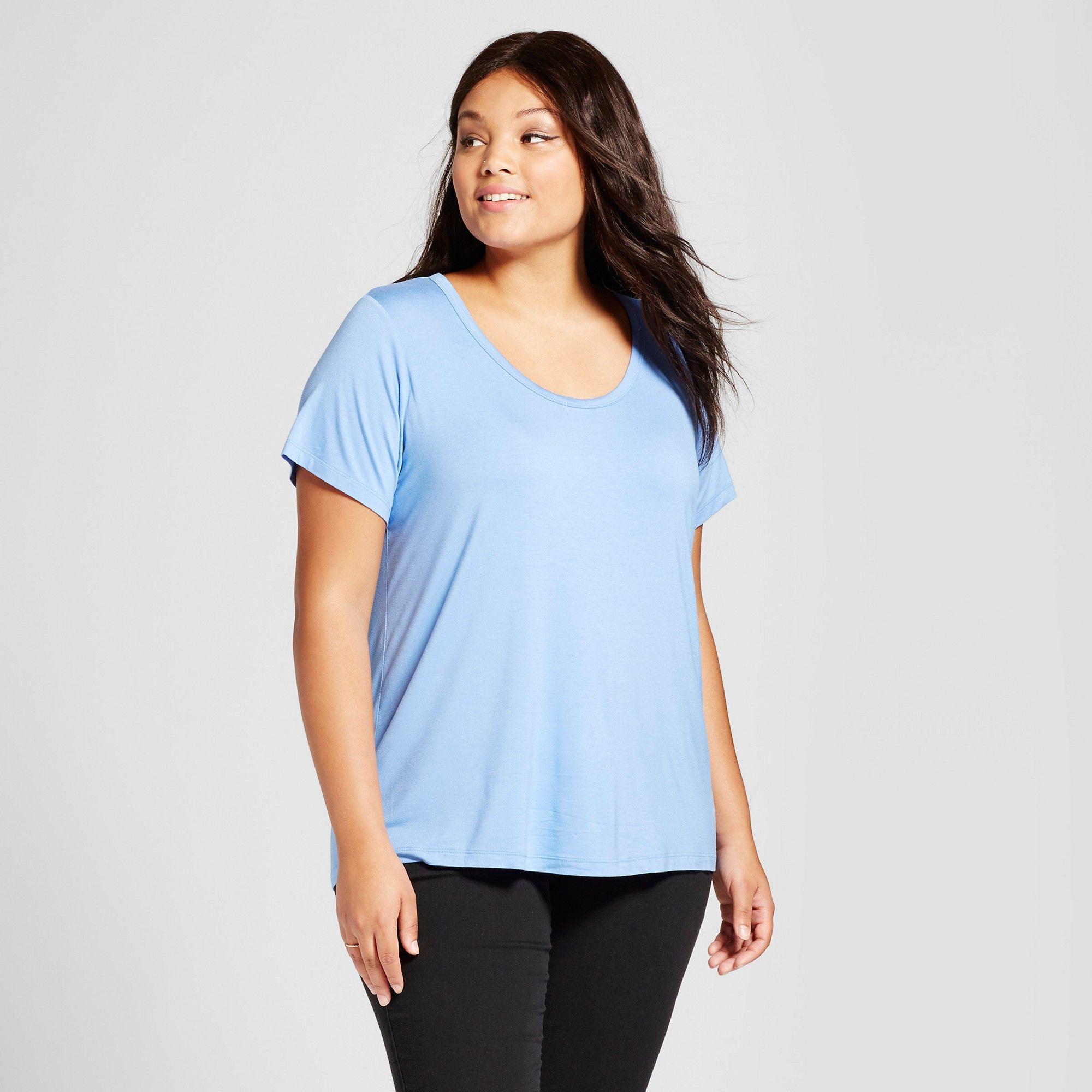 cbcaf0baaa3 Women s Plus Size Short Sleeve Perfect T-Shirt - Ava   Viv Horizon Blue 1X
