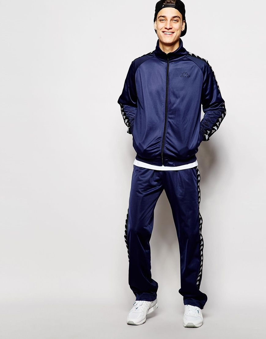 Tracksuit by Kappa Two piece tracksuit Smooth fabric Signature taped  detailing Funnel neck jacket Raglan sleeves Zip opening Side pockets Ribbed  cuffs and ...