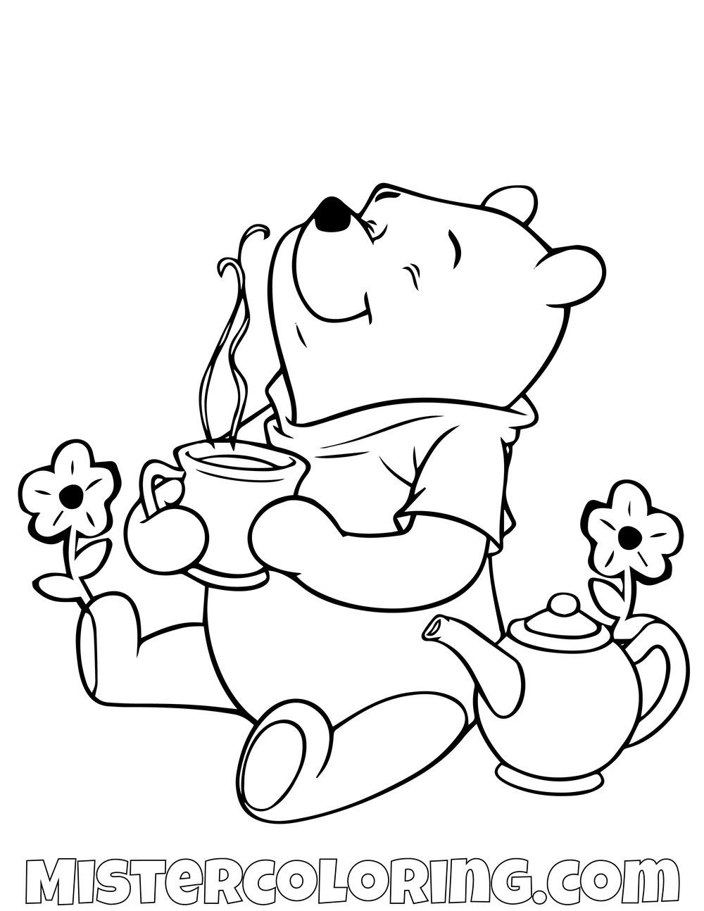 Winnie The Pooh Smelling Coffee Coloring Page Cute Coloring