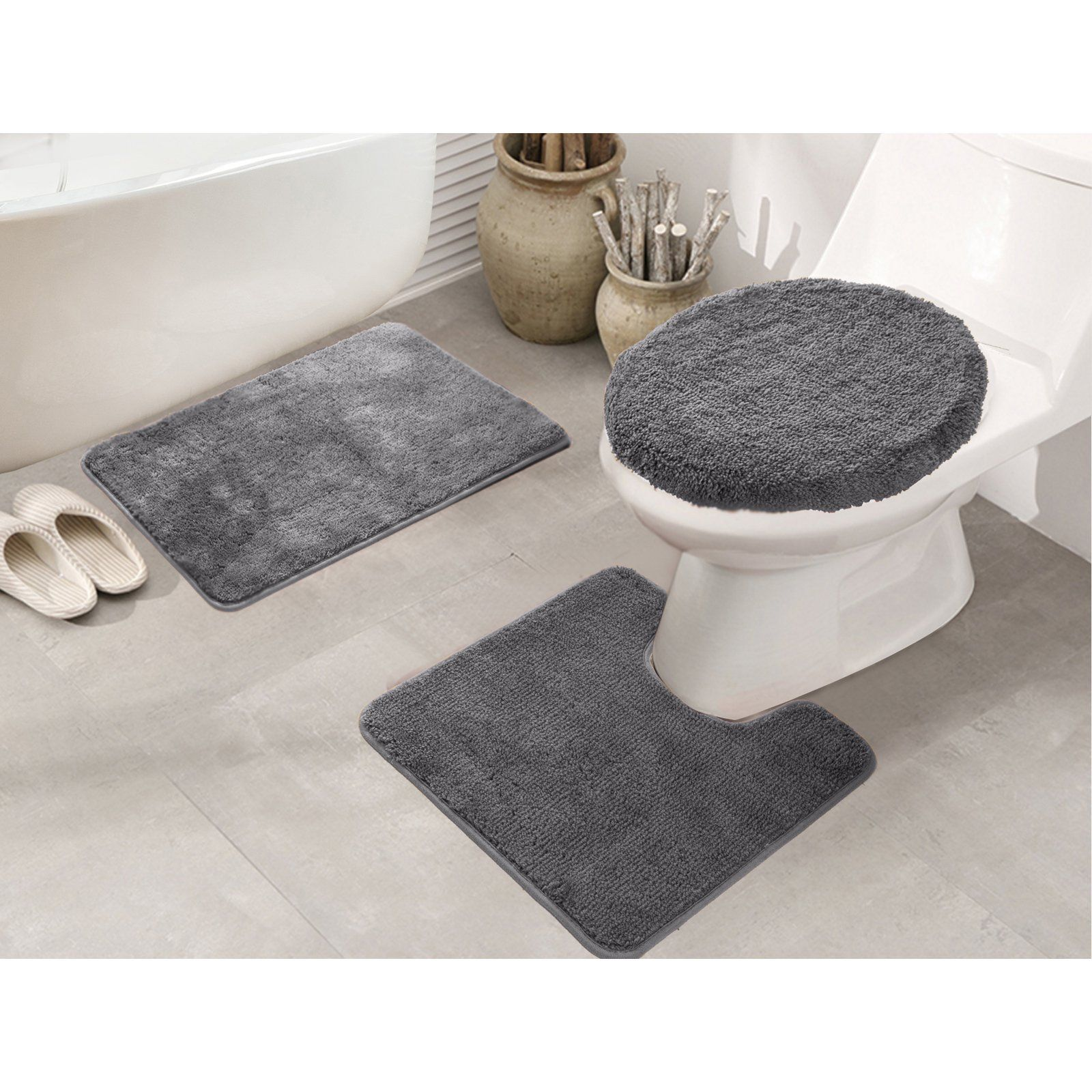 Rt Designers Collection Royalty 3 Piece Bath Rug Set Silver Rugs
