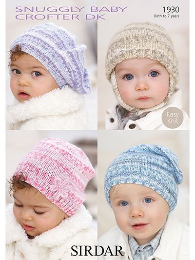 Baby Girls Boy Cable Hat Helmet Beret teabag KNITTING PATTERN Aran 0-7 yr 1338