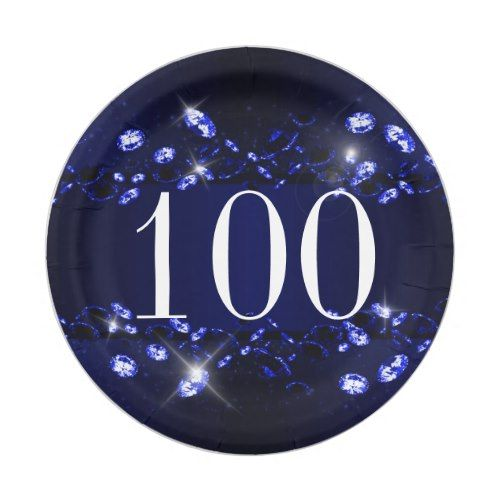 Womenu0027s 100th Birthday Blue Black Sparkly Diamond Paper Plate  sc 1 st  Pinterest & Womenu0027s 100th Birthday Blue Black Sparkly Diamond Paper Plate ...