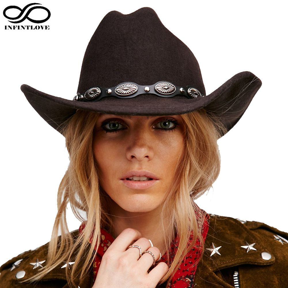 8fc76b17231 100% Wool Felt Vintage Womem Men Western Cowboy Hat With Wide Brim Punk  Leather Belt Cowgirl Jazz Cap (One Size 57cm US 7 1 8)
