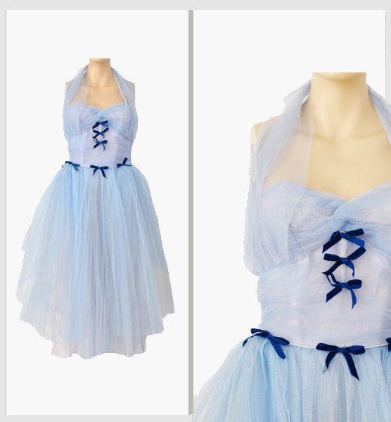 Vintage Baby Blue Tulle 1950s Dress     #vintage #1950s #tulle