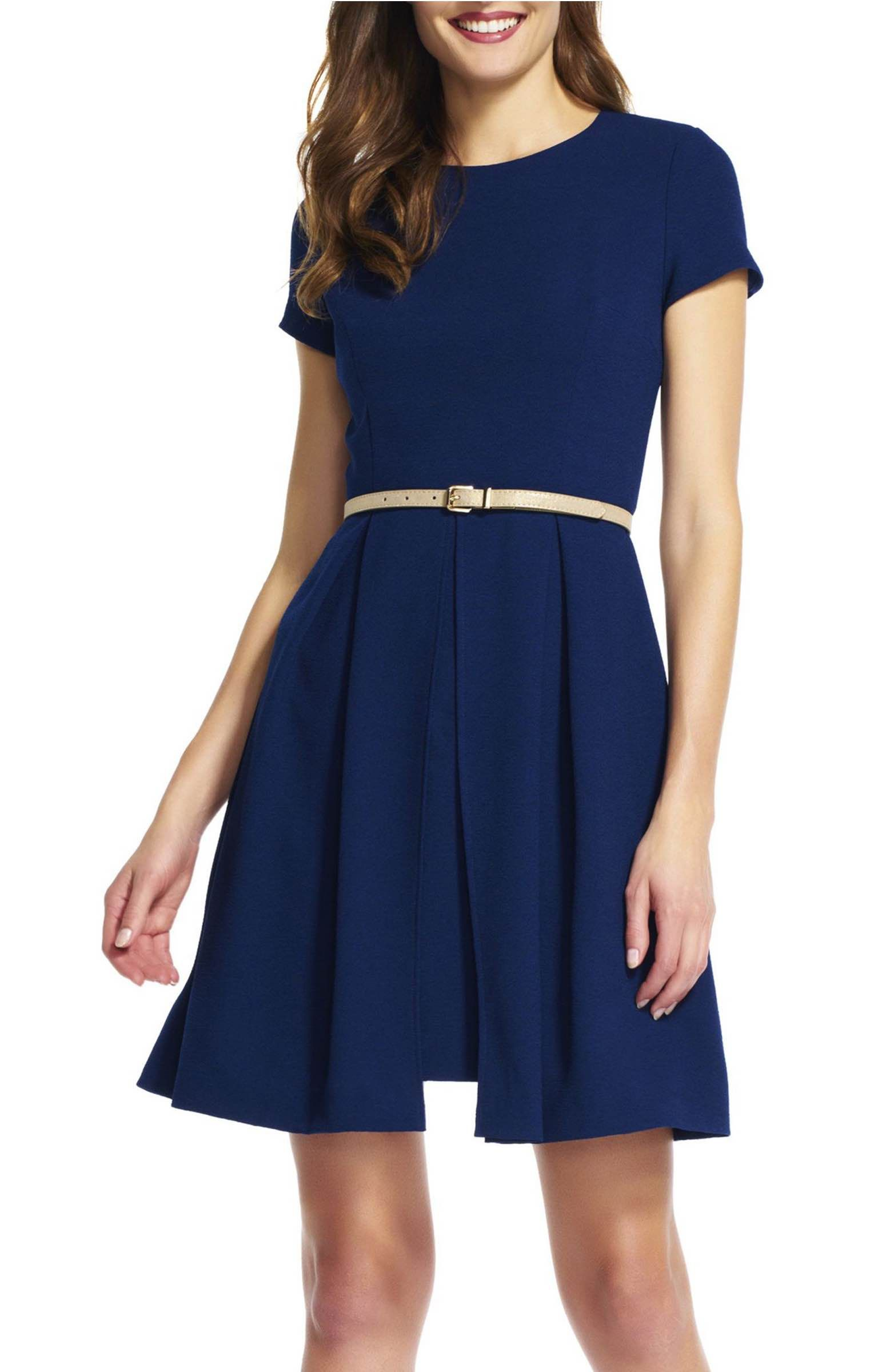 Adrianna Papell Belted Textured Crepe Fit & Flare Dress ...