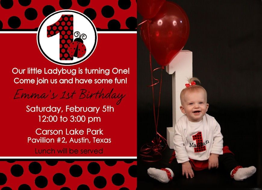 Ladybug 1st birthday invitation party first girl personalized black ladybug 1st birthday invitation party first girl personalized black red polka dots you print invite photo card filmwisefo Choice Image