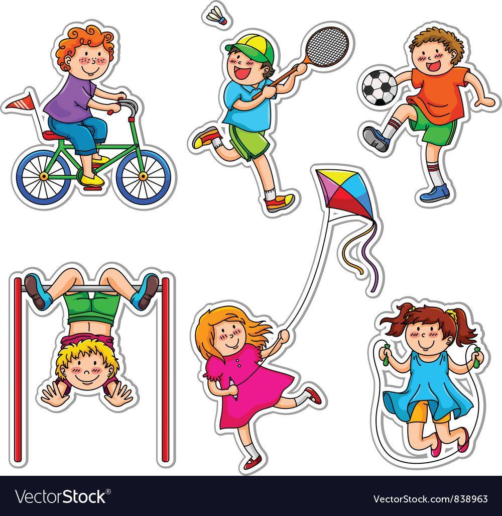 Active Kids Vector Image On Dia Da Crianca Ilustracao Crianca