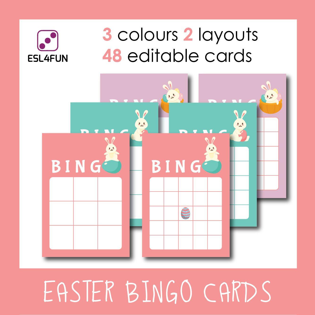 Editable Easter Bingo Cards