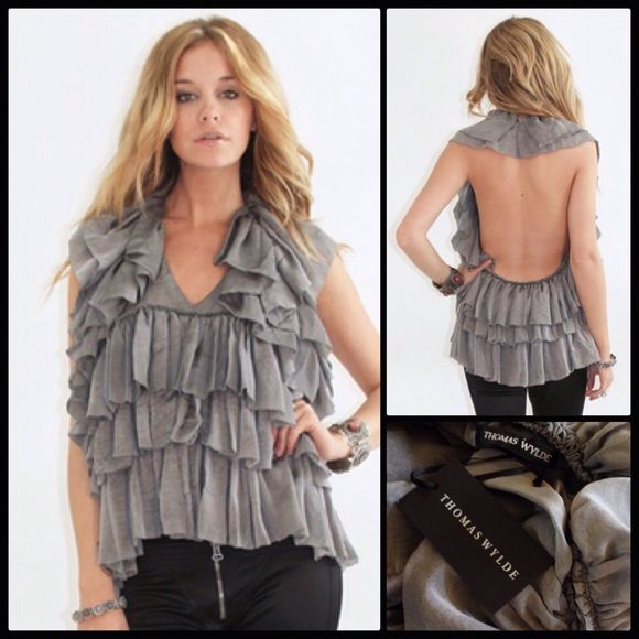 THOMAS WYLDE  Ruffled Silk Backless Halter NWT An ethereal confection... Stunning grey halter in a cascade of ruffles of a soft, lightweight & semi sheer  silk. Not too revealing in the front but turn around and wow!  Makes a statement coming or going. A couture runway piece... A true collector's piece.  Dry clean only.  No care tag.  NWT Thomas Wylde  Tops