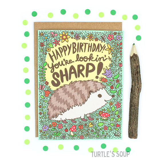 Hedgehog Card Woodland Animals Looking Sharp Animal Puns Funny Birthday Cute For Her