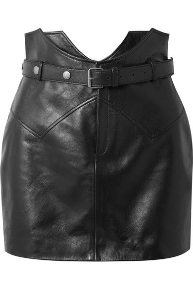 3e346af85e SAINT LAURENT - Belted Leather Mini Skirt - Black in 2019 | Clothes ...