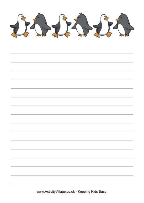 Penguins writing paper Printable Lined Writing Paper Pinterest - blank lined writing paper