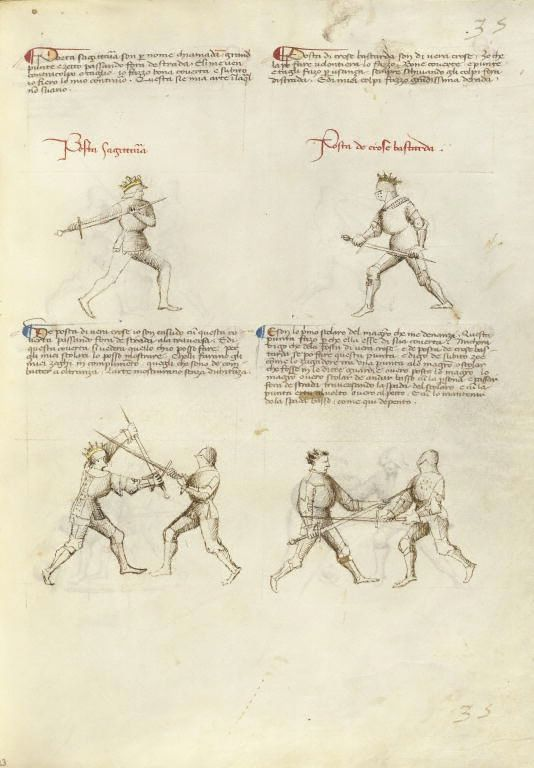Combat with Sword Artist/Maker(s): Fiore Furlan dei Liberi da Premariacco, author [Italian, about 1340/1350 - before 1450] Date: about 1410 Medium: Tempera colors, gold leaf, silver leaf, and ink on parchment Dimensions: Leaf: 27.9 x 20.6 cm (11 x 8 1/8 in.) Object Number: 83.MR.183.33 Department: Manuscripts