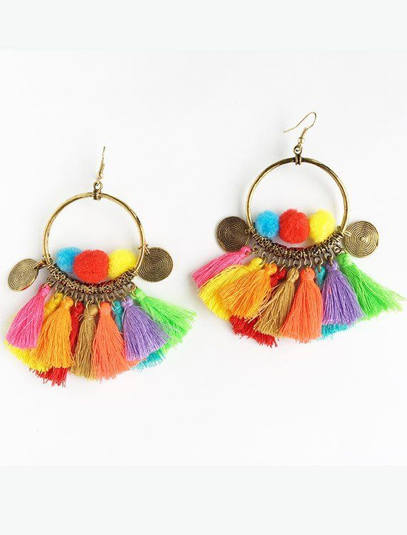 pom pom tassel earrings online fashion shopping wish list pinterest. Black Bedroom Furniture Sets. Home Design Ideas
