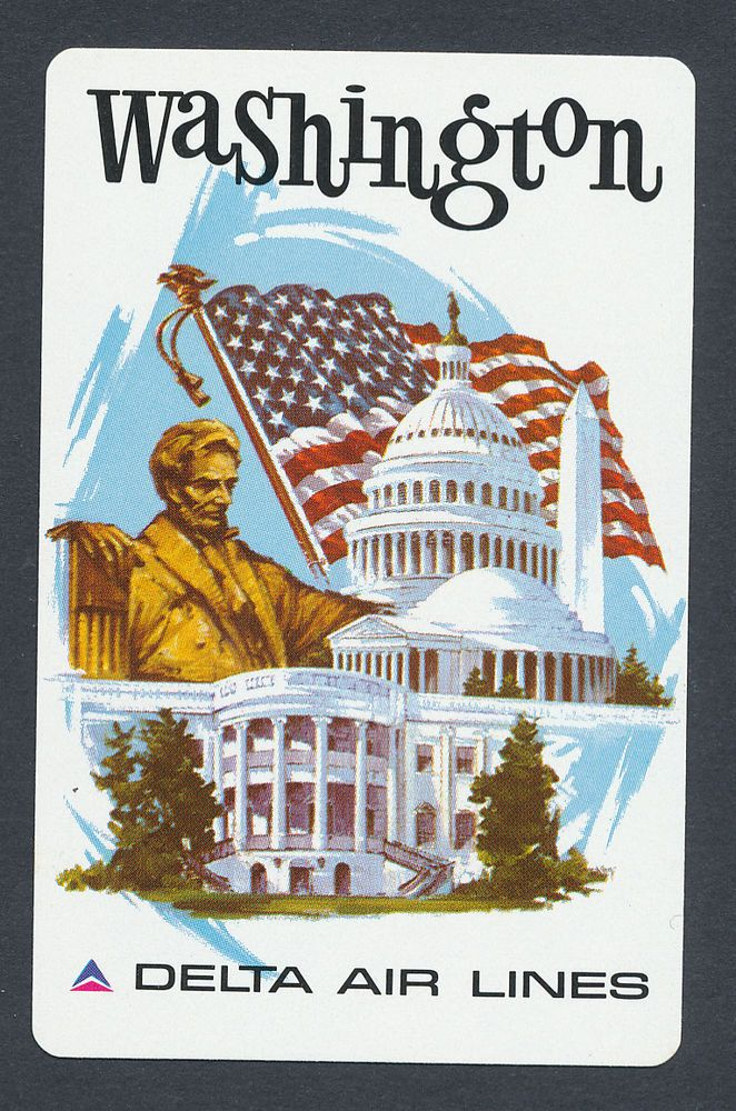 Washington Delta Air Lines playing card single swap eight