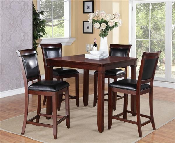 Dining Room Furniture Dallas Dallas Black Brown Cherry Pvc Wood Counter Height Table W4 Chairs