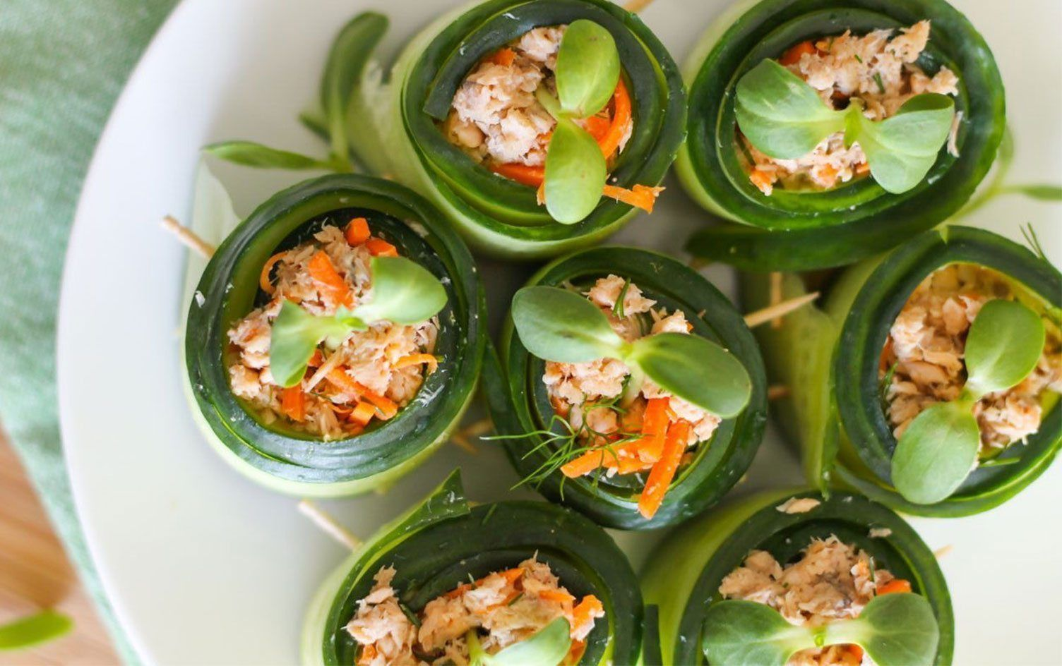 Make refreshing low-carb cucumber rolls using simple ingredients and high-protein canned salmon. These cucumber rolls make gorgeous, healthy appetizers.