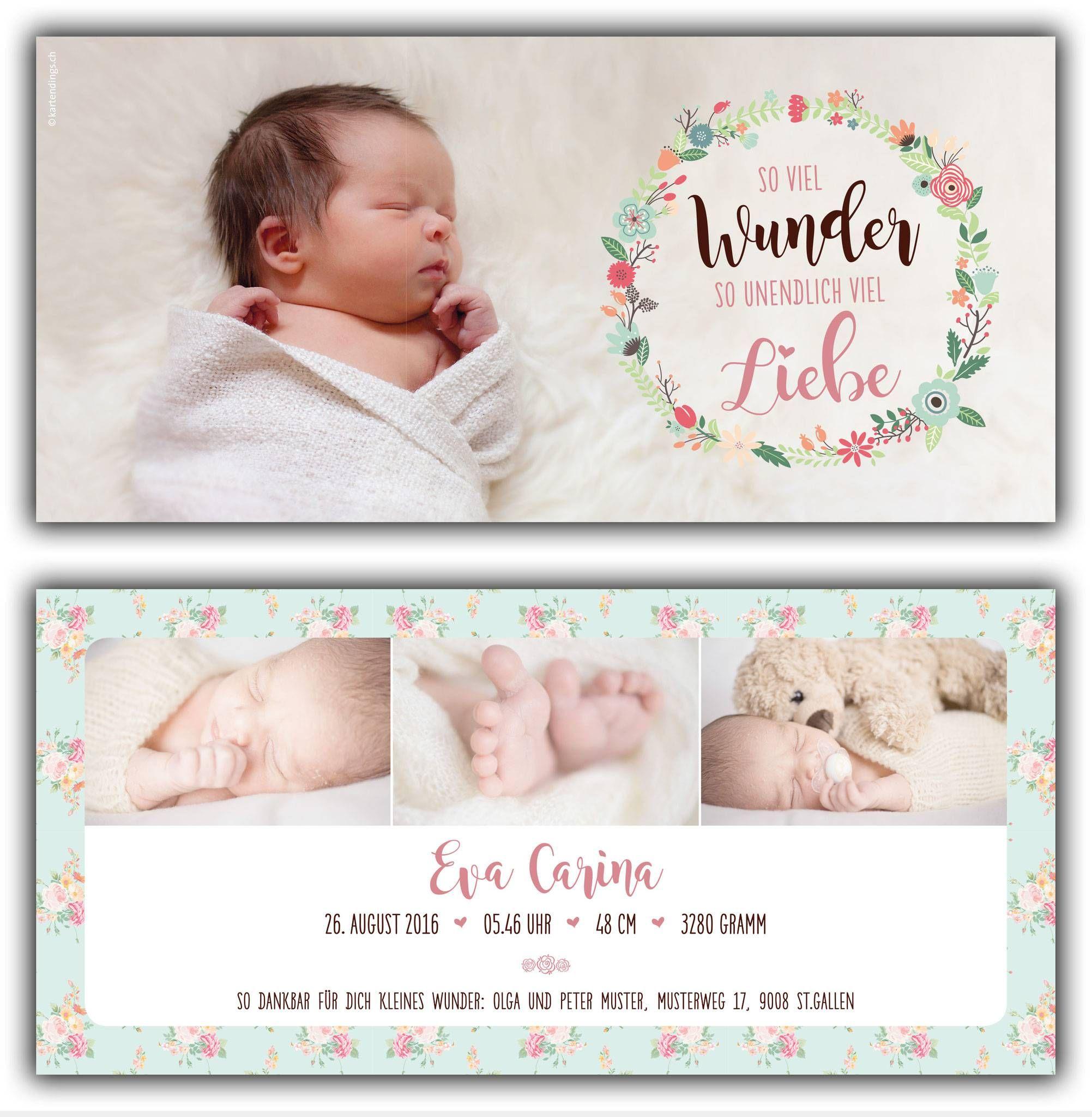 Dankeskarten Baby Text