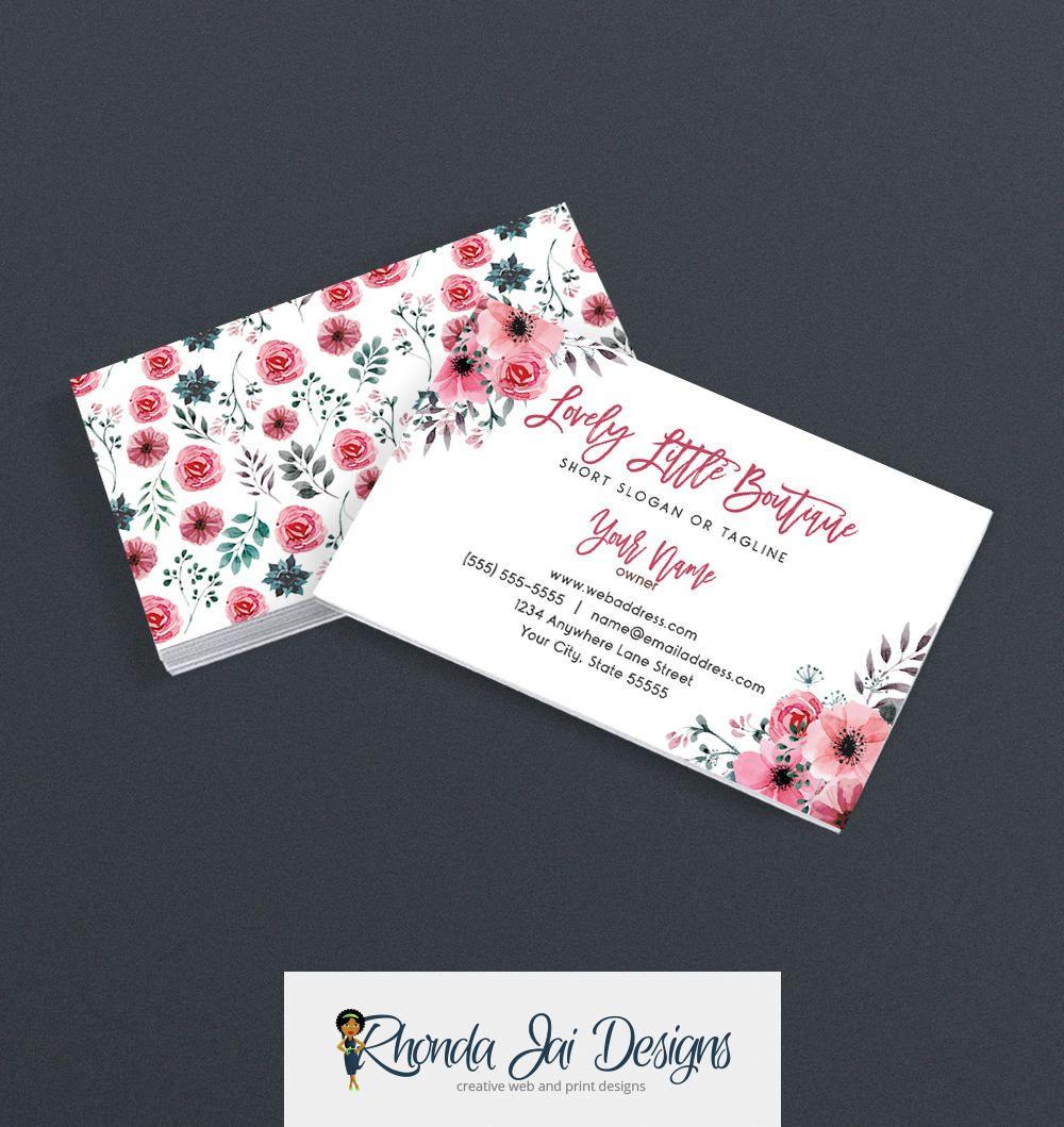 Sale 35 Off Business Card Designs Floral Business Card Floral 418 17 By Rhondajai On Ets Etsy Business Cards Floral Business Cards Beautiful Business Card