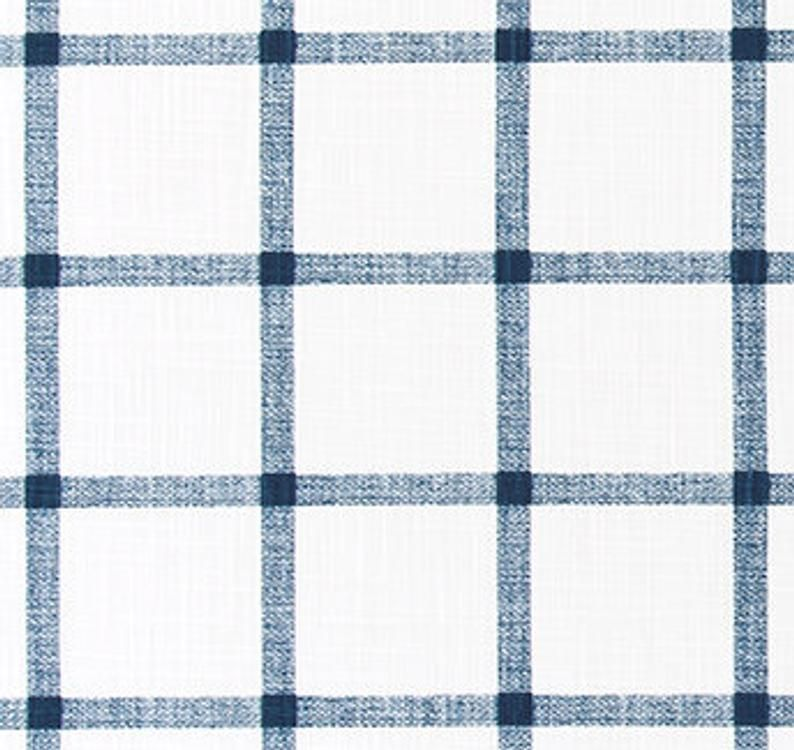 Navy And Ivory Windowpane Plaid Cotton Slub Fabric By The