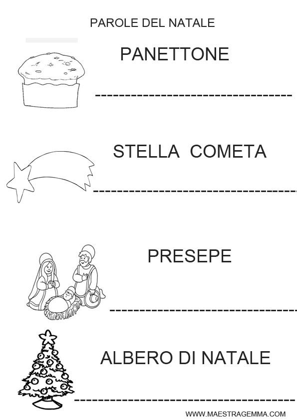 Schede natale italiano schede primo ciclo pinterest for Maestra gemma schede inverno