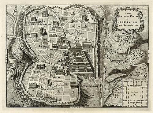 1750s map of Jerusalem and surrounding areas with places of interest