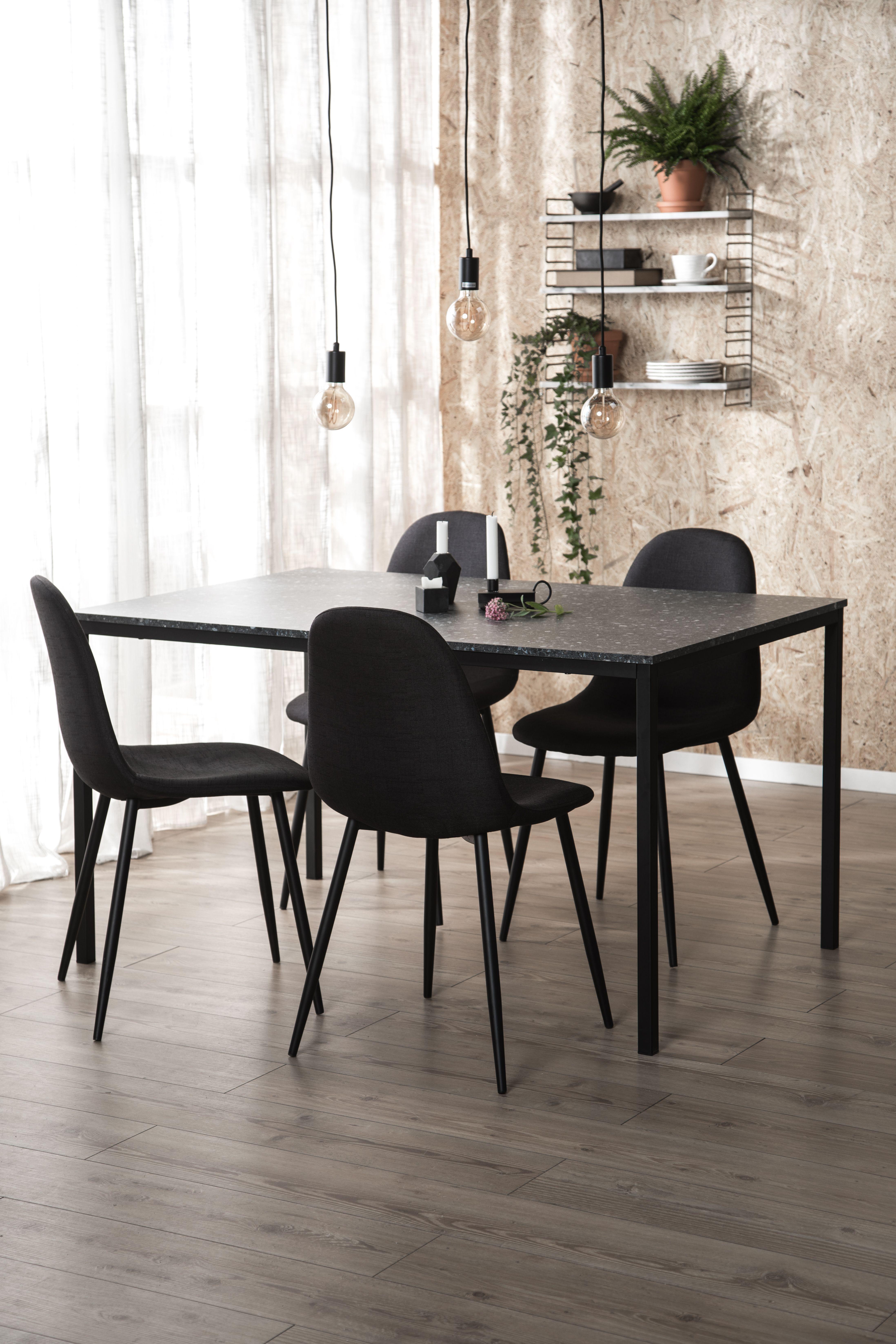 Välkända Terrazzo, matrum, matgrupp, bord, stol, furniturebox, svarta QZ-67