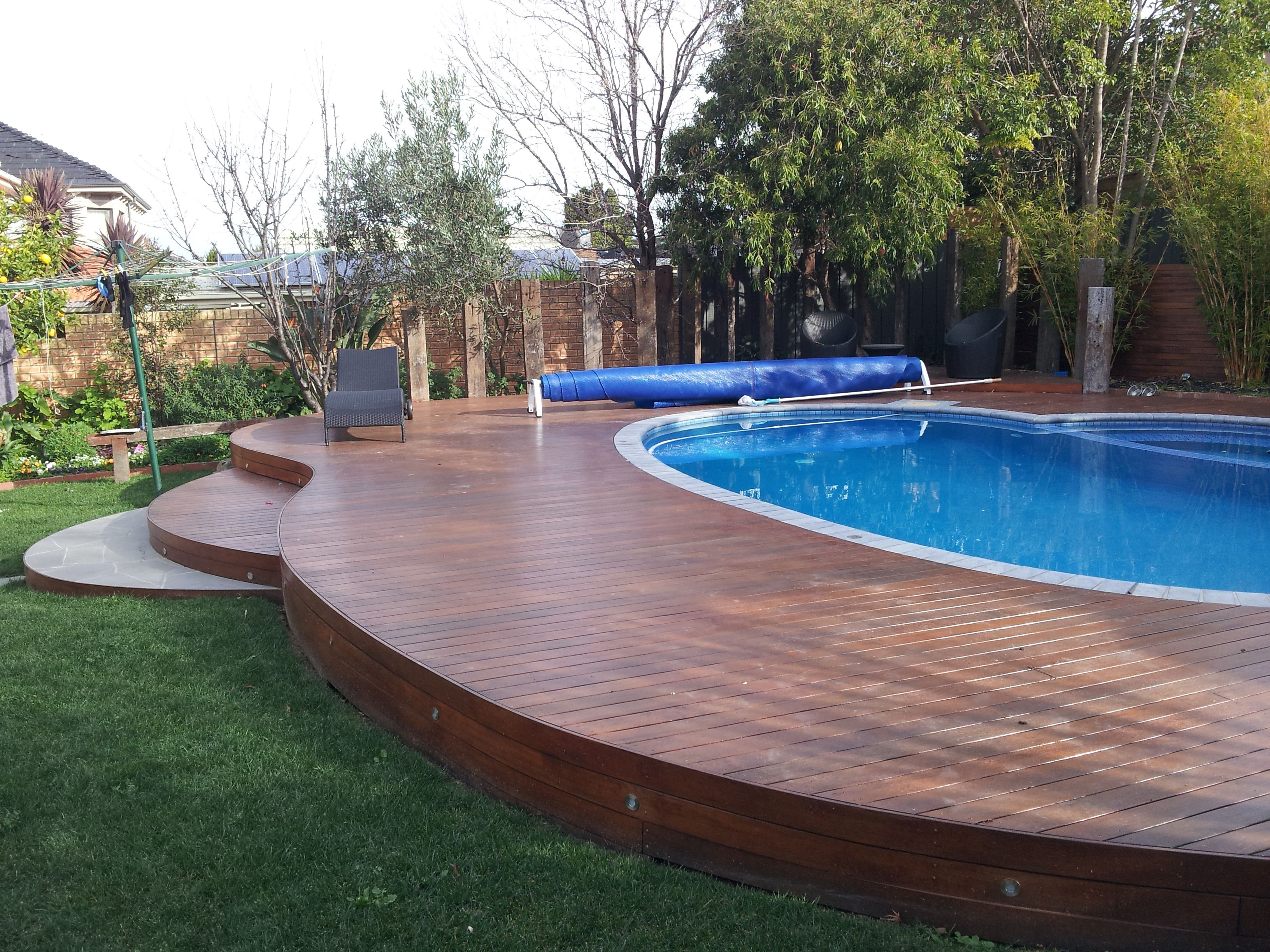 Unusual curved deck around a pool decking pinterest for Pool design deck