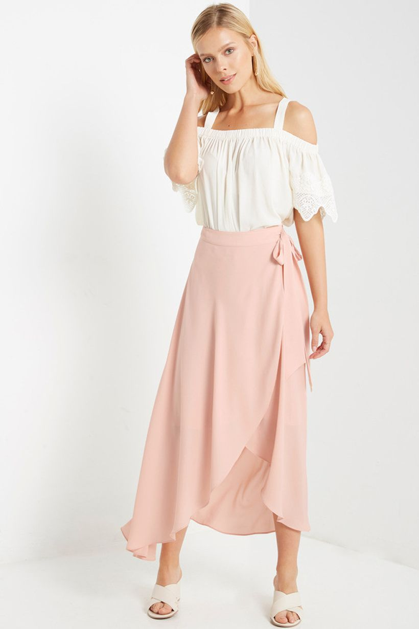 3c7ce4d9b lucky duck new wrap maxi skirt, blush skirt, maxi skirt outfits ...