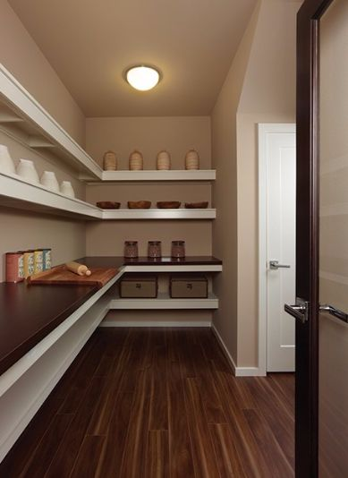 Pantry With Built In Bookshelf, Flush Light, Hardwood Floors, Bellawood  Matte American Walnut