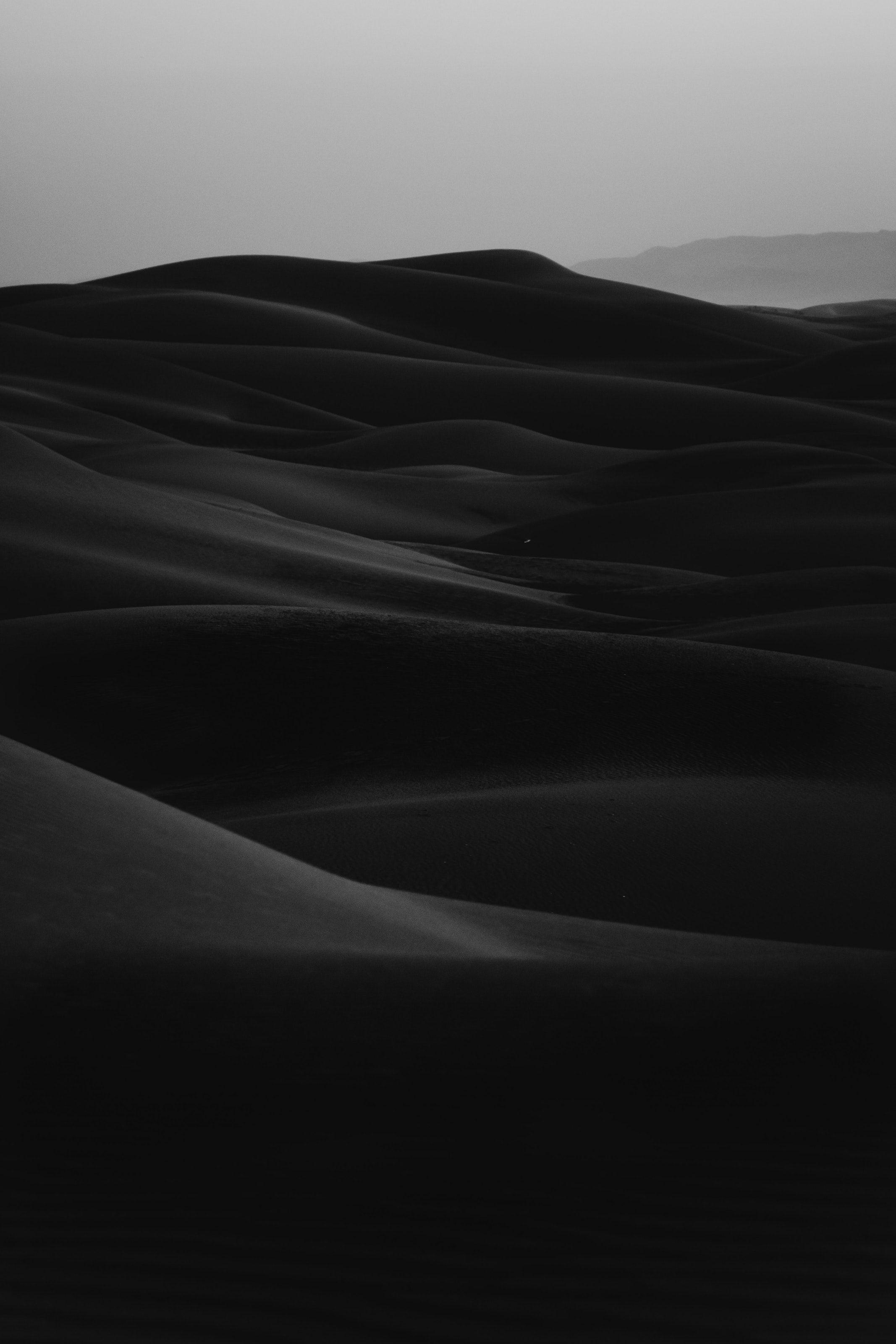 Grayscale Photo Of Desert Black And White Wallpaper Black Picture Black Sand