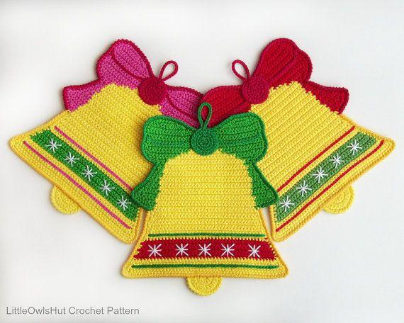 107 Crochet pattern - Bells decor, potholder or decorative pillow ...