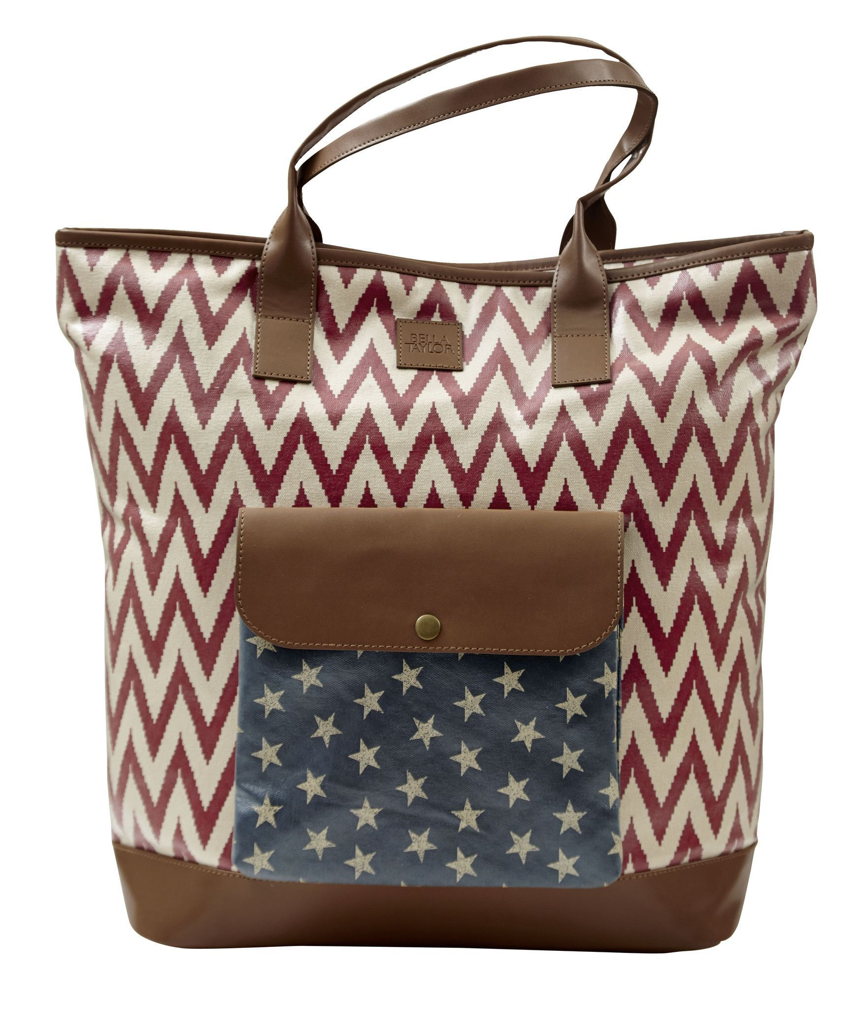 Coated Cotton Canvas Featuring A Vintage Blue Lining Antique Brass Hardware And Camel Brown Vegan Leather The Caravan Tote Is Perfect For An Overnight Bag
