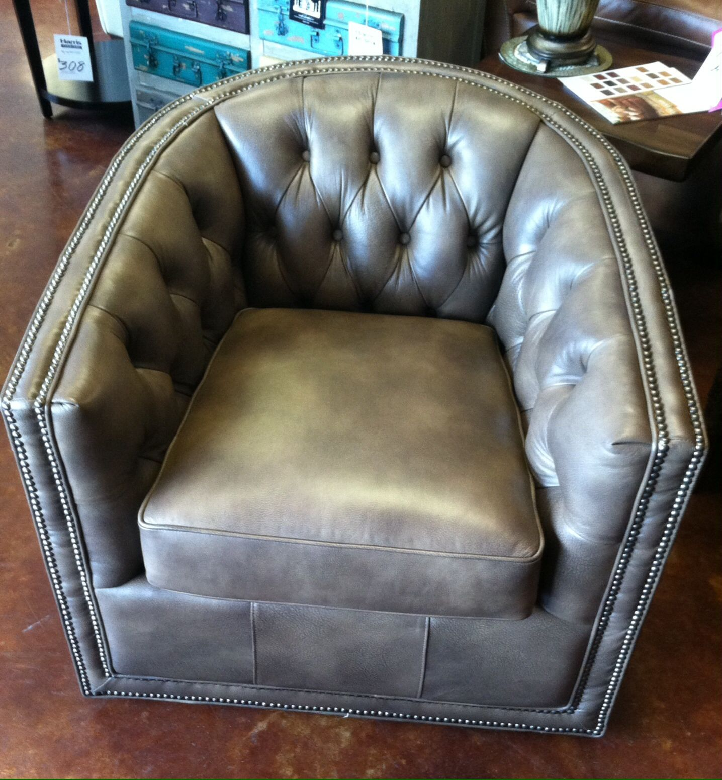 Leather Swivel Barrel Chair Desk Teal Flexsteel Store Images